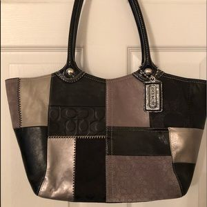 Coach handbag in black, grays and silver